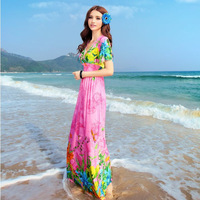 2014 summer new arrival fashion Long dress Bohemian style chiffon V-neck beach holiday dress retail price free shipping hot  new