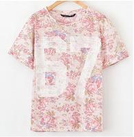 ST1770 New Fashion Ladies' Elegant floral & number print pink T shirt basic O neck short sleeve casual slim brand designer tops