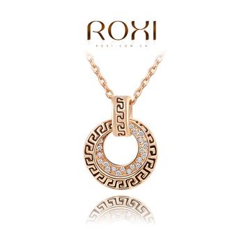 Roxi элегантная женская цепочка-подвеска ручной работы, изготовлена из розового золота с трех разовым зототым напылением, украшена подвеской с россыпью австрийских кристаллов, винтажный стиль