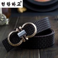 Discount real leather women/men belts Korean brand casual lady/gentlemen waist belts Letter design alloy buckle unisex belts