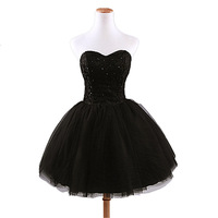 2014 Korean new black lace beaded Special Occasion ball gown short Cocktail Dresses dinner party show Puff prom skirt sexy gowns