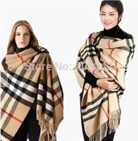 2014 Scarf for Women Fashion Designer Winter Long Warm Beige Tassel Striped Plaid  Scarves
