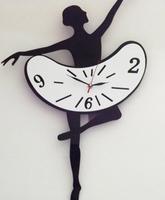 1set/lot free shipping Creative Modern Wall Clock Dancing Girl Pattern mute movement Acrylic Large Wall Clocks Unique gift