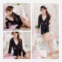 [SNY-042]Plus-size lingerie large translucent black lace princess dress uniform dress sexy underwear+Free Shipping