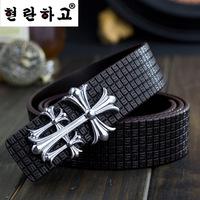 Free shipping brand women/men belts Korean cowhide leather lady/gentlemen waist belts Cross design metal buckle unisex belts
