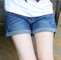 new 2014 women shorts jeans Elegant Design Girl's Women's short feminino Casual Curling high waist Denim Shorts Pants saias