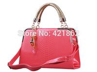 2014 New Hot Sales Fashion Women's CROCO Pendant Handbag Female Elegant PU Messenger Bag Lady Tote Shoulder Bag Sling Bag