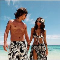 Couple Plus Size Print Bikinis Set New 2014 Brand Swimwear Women Sexy Push Up Swimsuit Vintage Top+Bottom+Dress Beachwear Men
