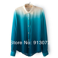 ST1189 New Fashion Ladies' Gradient Color chiffon blouse elegant office lady long sleeve Shirt casual slim brand design tops