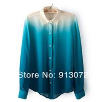 ST1189 New Fashion Ladies' Gradient Color chiffon blouse elegant office lady long sleeve Shirt casual slim brand design tops