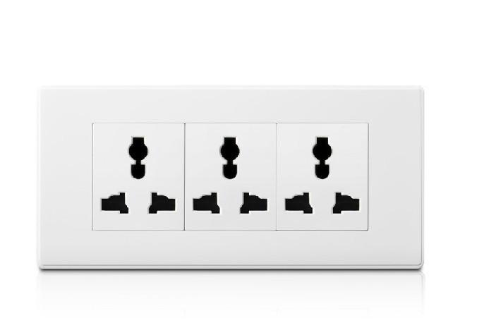 New 250V/10A retardant PC 118 type wall power socket, modular steel three elegant white abalone sockets(China (Mainland))