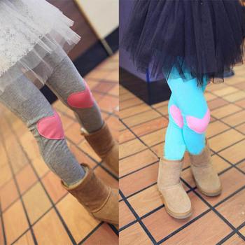 Хлопок девушки корейский стиль любовь в форме сердца патч брюки дети дети брюки 4 цвета прямая поставка бесплатная доставка