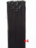 "Free shipping  24""/60cm 120 #4 7pcs/set Japan High Temperature Fiber Clip in Hair Extensions Straight Hair Extension"