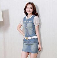 Party Dresses Seconds Kill Vestido 2014 Women's Dress Short-sleeved Summer Package Hip With Belt Korean Version Of Slim Denim