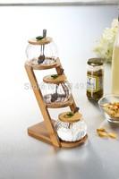 Glass Seasoning Condiment Cruet Pots Kitchen Gift Set of 3 Pumpkin Couple Ears Shaped  Glass Spice Jar with Ladder Bamboo Tray