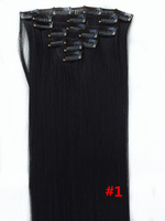 """Free shipping  24""""/60cm 120 #1 7pcs/set Japan High Temperature Fiber Clip in Hair Extensions Straight Hair Extension"""