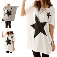 2014 Summer Fashion Womens Loose Star Print Bat Short Sleeve T-shirt Tops Black-and-White Classic FE3090#M1