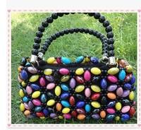 2014 new design fashion beaded DIY lady handbag gifts multi-color rainbow