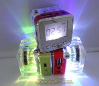 Wholesale Nizhi TT-028 Portable Mini Music Speaker with LED Digital Crystal FM Radio Support Micro SD/TF Card 100pcs Drop Ship