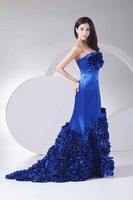 2014 Free Shipping Elegant Sheath Strapless Chiffon Solid Draped Mermaid  Women Wedding Dresses