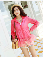 5pcs/lot  transparent thin long sleeve cardigan sun-protective clothing big yards length prevented bask