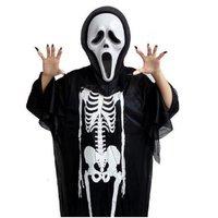 1set/lot Halloween Costume Skeleton Ghost Clothes + Gloves + Skull Devil Mask Adult One Size Cosplay Cloth set