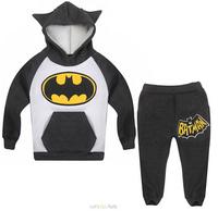 xlbb6 new 2014 roupa infantil children clothing set 2-8 age bat design fleece boys hoody + kids pants free shipping 6pcs/ lot