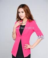 2014 New Pink Spring Summer Women's Formal Blazer Coat Professional Business Women Work Wear Blazer Jacket Outwear Tops