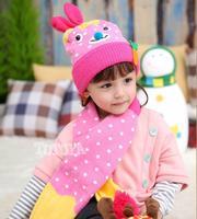 2014 hat winter new super cute rabbit winter hats for girls scarf hat glove sets suit children eat radishes