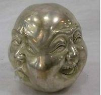 Rare chinese tibet 4 faces buddha head statue