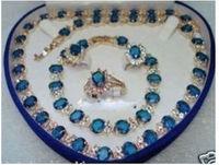 Blue Stone Sapphire Set Necklace Bracelet Earrings Ring +(box)