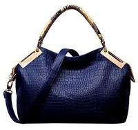 2014 Fashion vintage women handbag crocodile pattern genuine pu leather bag shoulder women messenger bags Drop Shipping