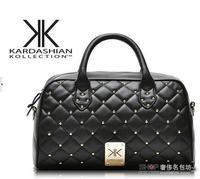 New fashion high quality handbags Kardashian kk plaid rivet shoulder bag handbag messenger bag women's handbag work bags
