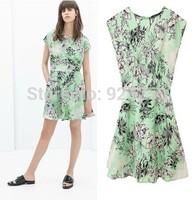 New HOT summer 2014 Women chiffon cute slim Dress floral print Casual brand design Dress short sleeve sexy mini dress