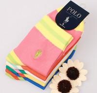 2014 New Hjc Polo Socks 100% Cotton Brand Embroidery Pattern Stripe Women's Casual Socks 5pairs=10pcs