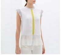 ST1548 New Fashion Ladies' Elegant color blocking blouse shirt sleeveless O neck Shirt casual slim brand designer tops