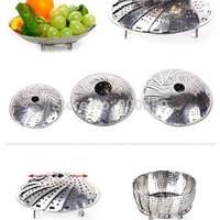 1 PC  Stainless Steel Multifunctional Folding Mesh Food Dish Poacher Steamer Basket Cooker Bowl Expandable Dinner Plates