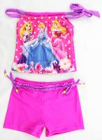 1PCS Children Swimwear New 2014 Girl  Swimsuit Two PieceS For Kids Swimming Wear Free Shipping 2014 New Arrival Beachwear