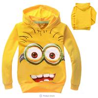 100% cotton cartoon spring and autumn children's clothing glasses pattern sweatshirt long-sleeve with a hood sweatshirt t-shirt