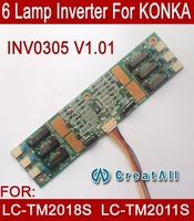 Free shipping 1PCS INV0305 V1.01 P/N: 72105001,6 lamp universal lcd CCFL inverter For KONKA LC-TM2018S&LC-TM2011S Monitor