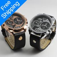 2014 New Men Brand Fashion Design Pointer With Digital Watch Four Time Gold Watches Men's Casual Quartz Wristwatch Clock W146