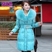 2014 Winter Thin Warm Woman Down Jacket Raccoon Fur collar Hooded Coat Overcoat Parka Slim Cold Long Plus Size 3XXXL Free Luxury