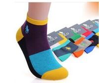 10pcs=5pairs Paul HJC POLO Socks Man 2014 Spring New Cotton Sport Socks Big Box Pattern Gift Socks FREE SHIPPING