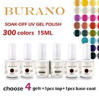 UV nail Soak Off Uv Gel Polish Top+basecoat+4pcs gel polish 15ml 0.5oz (300 colors) nail kit