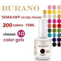 Choose 10pcs colors UV nail Soak Off Uv Gel Polish 10pcs gel polish 15ml 0.5oz (300colors) nail kit