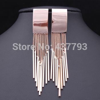 Jewelry 18 K Real Gold Plated Brand Chain Tassel Rectangle Drop Earrings  E098