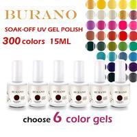 BURANO Choose 6pcs UV nail Soak Off Uv Gel Polish gel polish 15ml 0.5oz (300colors) nail kit 30 Days Long Lasting NEW