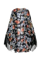 2014 New Lady Fashion Floral Prined Casual Kimono with Fringing Women Coat Outwear 3014104703