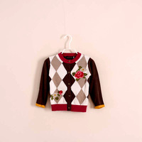 2014 New Autumn / Winter Embroidery Peony Sweater Coats Girls 3-12Y 7pcs/lot Free Shipping