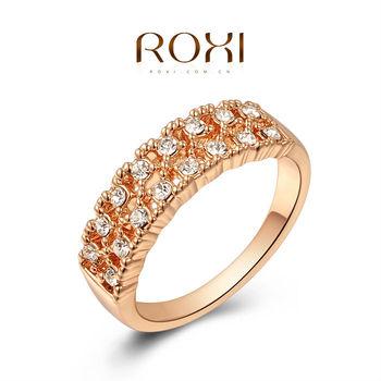 Roxi элегантное женское кольцо ручной работы, выполнено из розового золота с трех разовым золотым напылением, украшенное сверкающими австрийскими кристаллами, размеры 6-8